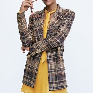 Free People Plaid Belted Emily Blazer Size XS